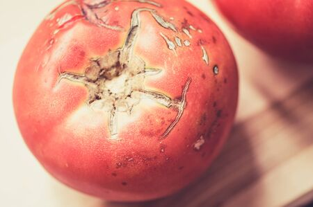 overripe: Big overripe red tomato cracked on a wooden board top view