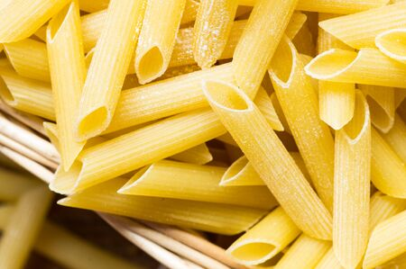 maccheroni: Maccheroni pasta closeup top view