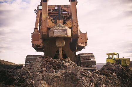 ripper: Ripper bulldozer on road construction Stock Photo