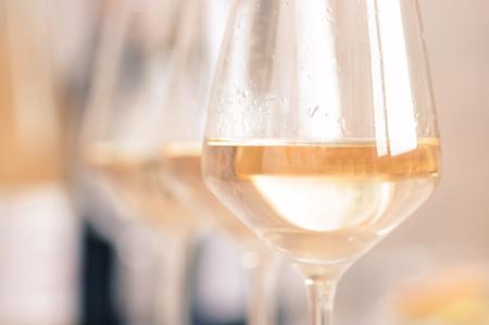 chardonnay: Glasses of white wine chardonnay closeup