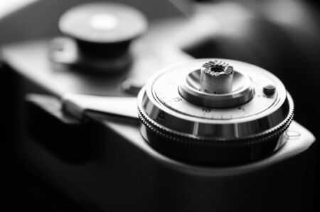 zenith: Shutter button of the camera in black and white