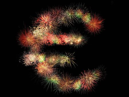Euro sign made of fireworks on black background Stock Photo