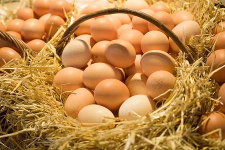 Fresh eggs in a straw basket.