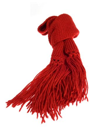 A red scarf of wool isolated over white background Stock Photo