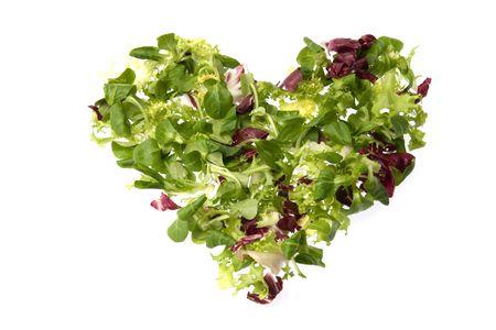 A heart of green salad (corn salad, escarole and radicchio) suggesting love and health.
