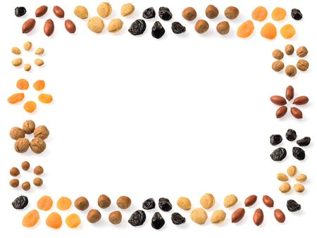 A frame of dried fruits: almonds, prunes, apricots, walnuts, pecans and hazelnuts. Stock Photo - 6411365