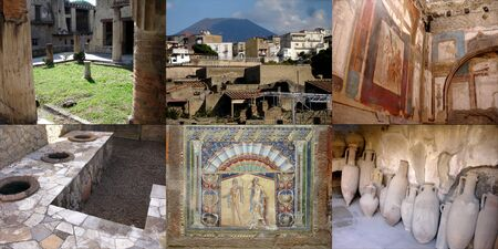 Collage of six photographies of the ancient Roman city of Herculaneum  near Naples, Italy  which was destroyed and buried during the eruption of Mount Vesuvius in 79 AD