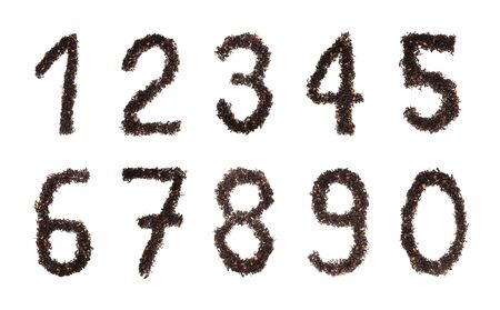 Set of numbers made of berry's tea isolated against white photo