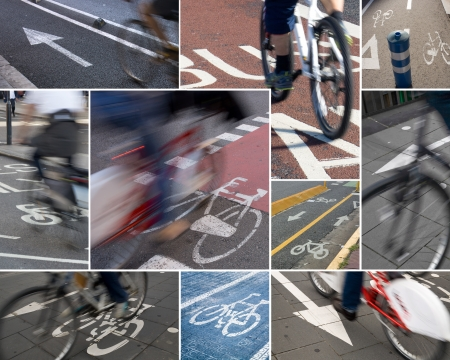 Colorful collage of  several urban cycle lanes  photo