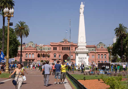 Buenos Aires, Argentina - December 13, 2012  Protesters and tourists in the Plaza de Mayo, the heart of Argentina