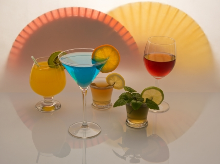 Several types of alcoholic drinks with red and yellow  Stock Photo