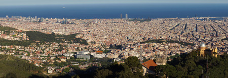 Panoramic view of Barcelona city and the Mediterranean Sea