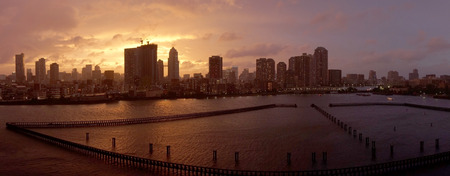 Panorama of the city of Tokyo in a stormy sunset
