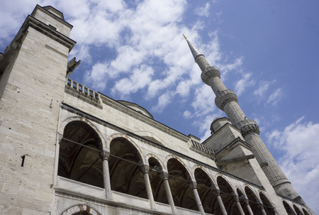 Detail of the historic Sultan Ahmed Mosque (Turkish: Sultan Ahmet Camii), also known as the Blue Mosque, in Istanbul.