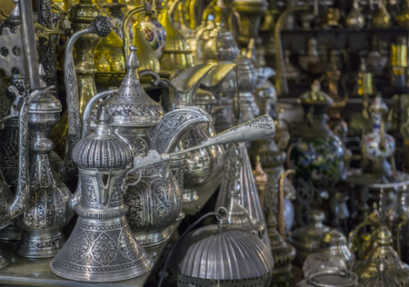 Traditional coffee kettles on a turkish marquet stall. Stock Photo