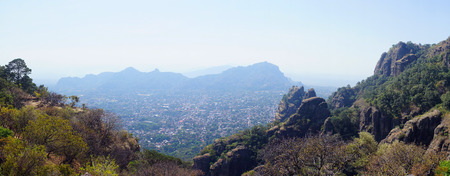 morelos: Panorama view of Tepoztlan, a small touristic village in the mexican state of Morelos.