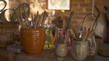 Set of tools in a pottery workshop