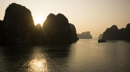 Sunrise at Bai Tu Long bay, northeast area of Halong Bay, Vietnam Stock Photo