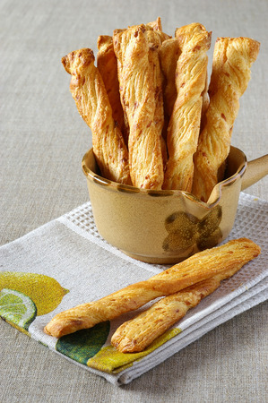 collation: Light snack: French stick with cheese on beautiful linen towel