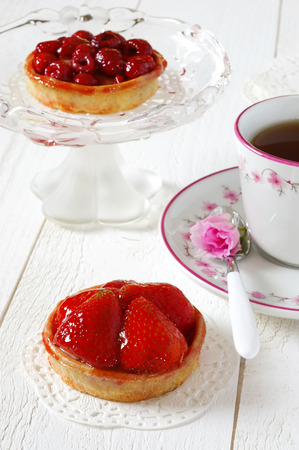 teaparty: Romantic Tea Party: fruit cakes strawberry and raspberry and azalea flower
