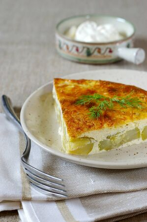 collation: zucchini casserole with cheese crust Stock Photo