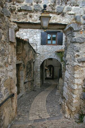 middleages: Southern France: narrow dark street in medieval village
