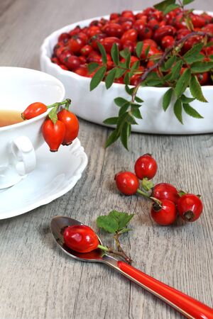 infusion: Vitamin infusion of rose hips in a white bowl