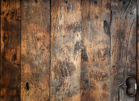 Fragment of a old wooden door with hardware elements