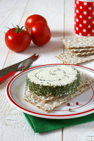 crispbread: Crispbread and cheese with French Provencal herbs
