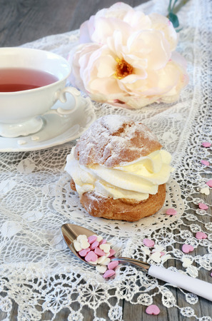 chantilly: Valentines Day: Romantic tea drinking with pastry chantilly cream and hearts and pink peony