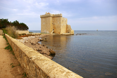 cote d'azur: Cote dAzur, Lerins Islands: fortified monastery of abbey Saint-Honorat Stock Photo