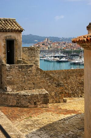 middle ages boat: France, Mediterranean, Antibes: view of the Old City of Fort Carre