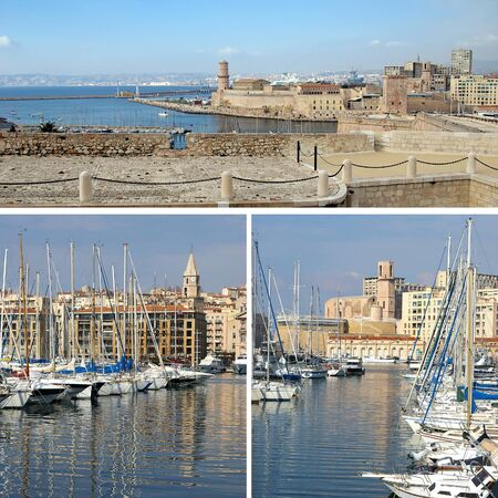 middle ages boat: Southern France, Mediterranean: landmarks in Marseille, Old Port, collage