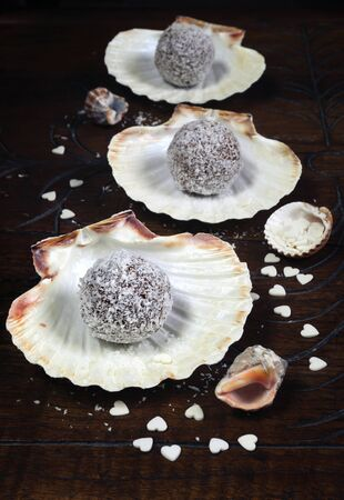 palatable: Homemade candy: chocolates in coconut flakes and cockle-shells