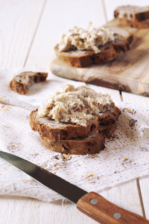 French rillettes: meat pate with bread Stock Photo