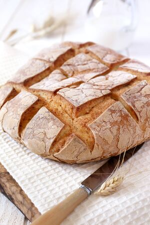 bred: French country bread, milk and bred grains