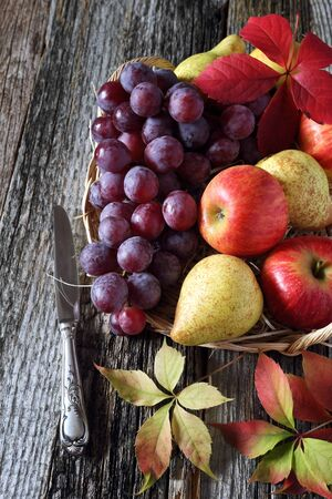reddening: Autumn still life with fruits in a wicker basket