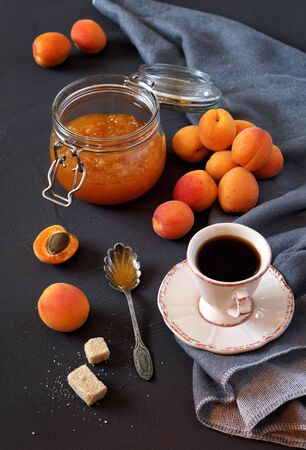 bocal: Apricots, apricot jam  in jam jar and cup of coffee Stock Photo
