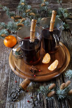 festive pine cones: Winter mood: mulled wine and tangerines
