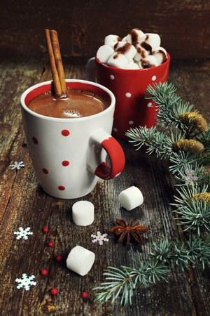 nice food: New Years mood:  Hot chocolate and Christmas decorations. Toned image