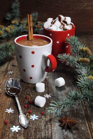 nice food: New Years mood:  two cups of hot chocolate Фото со стока