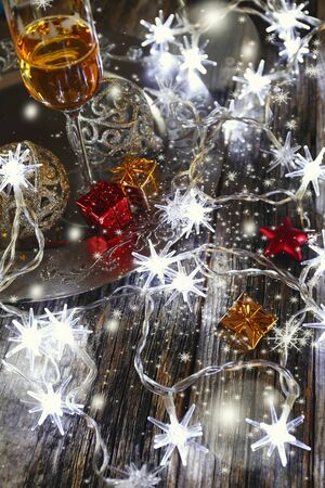 christmas bubbles: Christmas, festive mood: glass of champagne and New Years decoration Stock Photo