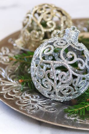 alight: Fir branches and New Years decoration, two large ball