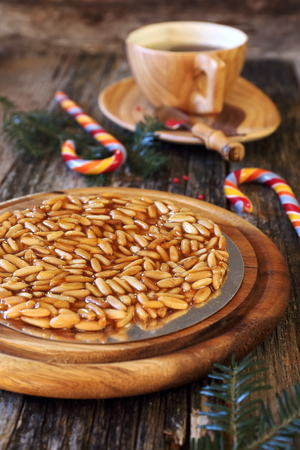 Spanish dessert: caramelized pine nuts and sucking candy