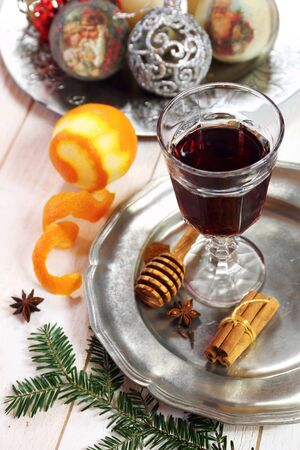 christmas spirit: Christmas spirit: ingredients for making  mulled red wine Stock Photo