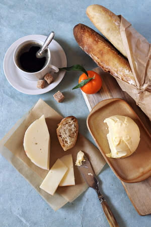 chicory coffee: Breakfast: fresh baguette, French cheese and butter Stock Photo