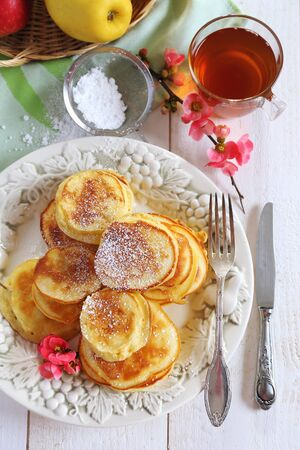 florescence: Spring sweet breakfast: apple thick pancakes
