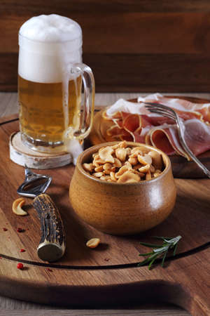 unfiltered: Unfiltered beer, nuts and  cold cuts