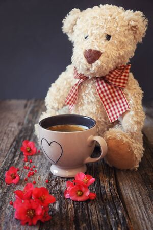 solicitous: Teddy bear, spring flowers and cup of coffee Stock Photo