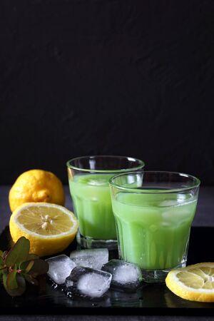 Cactus juice,  lemons and ice on dark background Stock Photo